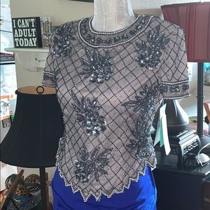 *BRAND NEW With Tags Papell Boutique Beaded Top SP